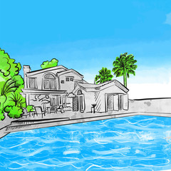 house and pool drawing concept