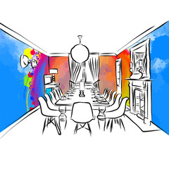 dining room colorful drawing concept