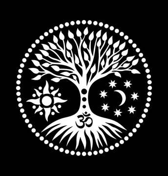 Mandala with the tree of life and the sign of Aum (ohm). Mystical symbol. The sun, the moon and the universe. Black and white graphics. Vector