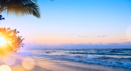 Art summer vacation drims  Beautiful sunrise over the tropical beach