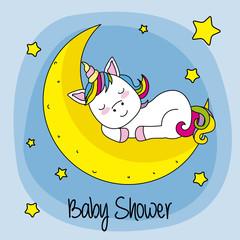 Baby shower card. unicorn sleeping on a moon