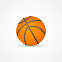 Basketball isolated on white background. Orange ball vector illustration.