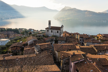 Door stickers Lake View of lake Iseo in Italy with old houses and church