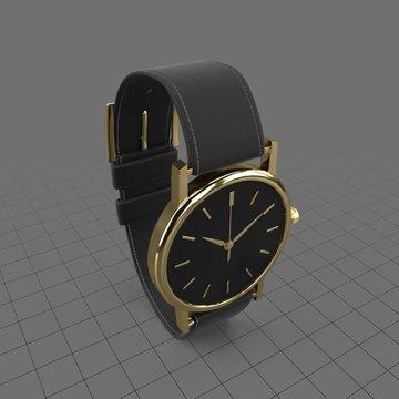 Leather wristwatch
