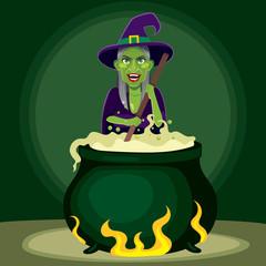 Old evil witch preparing magic poison potion on cauldron