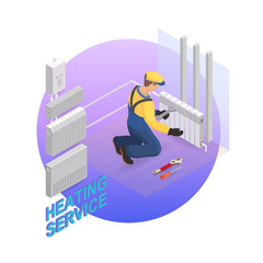 Home repair isometric template. Heating service. Vector flat 3d