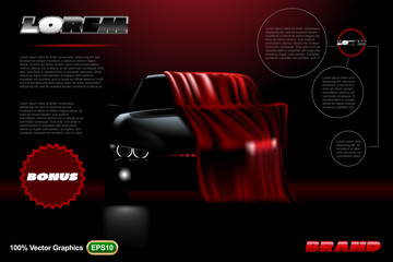 Covered car template on black background.  Mock up is ready to be converted to your business needs.  Realistic image