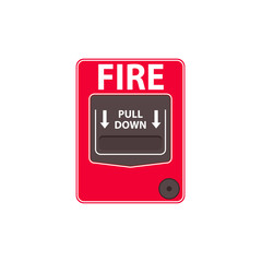 Fire alarm pull station. Clipart image isolated on white background