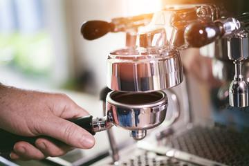 Coffee Filter holder preparation for fresh espresso