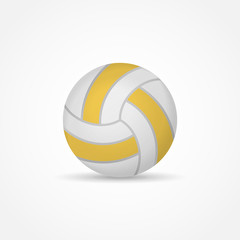 Volleyball isolated on white background. Yellow ball vector illustration.