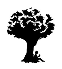 Little boy reads a book under a tree silhouette