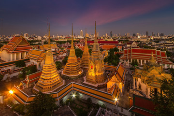 Wat Pho temple at twilight, Bangkok, Thailand