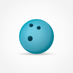 Blue bowling ball isolated on white background. Vector illustration.
