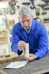Senior man inspecting piece of wood in workshop