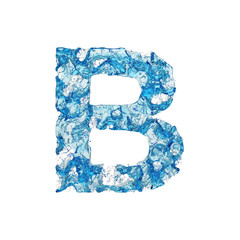 Alphabet letter B uppercase. Liquid font made of blue transparent water. 3D render isolated on white background.