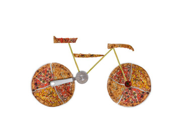 Creative picture of road bicycle made of international pizza and vegetables on white background. Delivery.