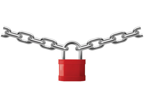 Closed lock hanging on chain isolated on white. Realistic vector 3d illustration