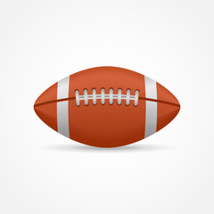 American football isolated on white background. Rugby ball vector illustration.