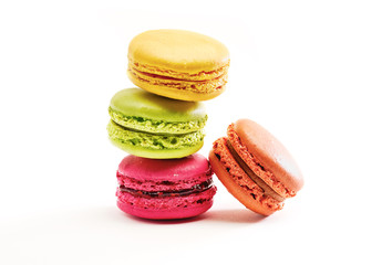 Self adhesive Wall Murals Macarons Fresh bright colored Macarons, or macaroons isolated on white