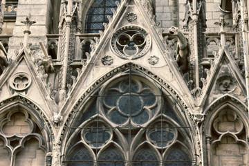 Notre Dame de Paris Cathedral Gothic style. Architectural details