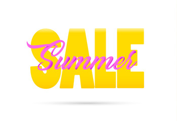 Summer sale lettering poster isolated. Vector illustration.