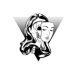 Tattoo design sketch with girl head. Vector illustration.