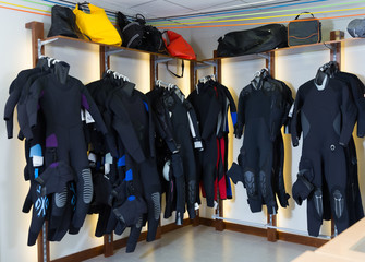 Image of the costumes for diving in the store