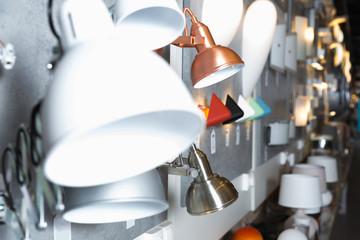 Modern desk lamp  in the  designer furniture shop