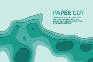 Art paper cut of topographic map. Pleasant colors of blue tone. Origami modern design. Vector illustration