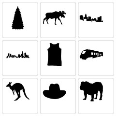 Set Of 9 simple editable icons such as bulldog, cowboy hat, kangaroo