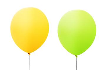 Luftballons gelb und grün freigestellt isoliert