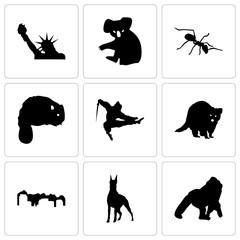 Set Of 9 simple editable icons such as gorilla, doberman, utah