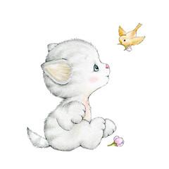 Cute kitten and bird
