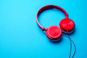 Image of red headphones on top