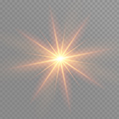 Yellow glowing light burst explosion on transparent background. Vector illustration light effect decoration with ray. Bright star. Translucent shine sun, bright flare.