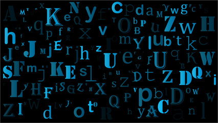random letters english alphabet background design on black