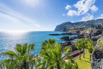 Wall Mural - View of Camara de Lobos, Cabo Girao in background, Madeira island, Portugal