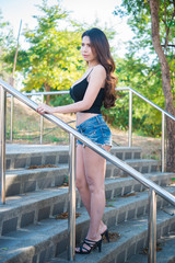 Portrait of beautiful asian woman  on stair,Thailand sexy people have a slim body
