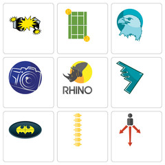 Set Of 9 simple editable icons such as approach, spine, bat
