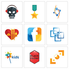 Set Of 9 simple editable icons such as viewfinder, black friday, kids channel
