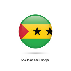 Sao Tome and Principe flag - round glossy button. Vector Illustration