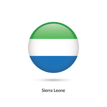 Sierra Leone flag - round glossy button. Vector Illustration