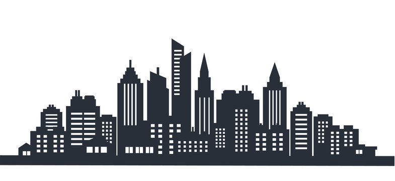 City silhouette land scape. City landscape. Downtown landscape with high skyscrapers. Panorama architecture Goverment buildings illustration. Urban life