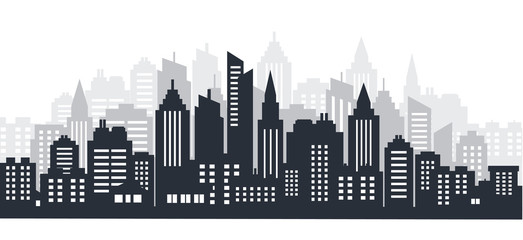 Printed kitchen splashbacks Gray traffic City silhouette land scape. City landscape. Downtown landscape with high skyscrapers. Panorama architecture Goverment buildings illustration. Urban life