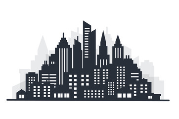 Fotomurales - City silhouette land scape. City landscape. Downtown landscape with high skyscrapers. Panorama architecture Goverment buildings illustration. Urban life