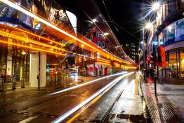 Night life in the center of Birmingham, UK. Dark black sky