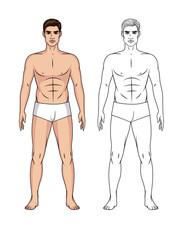 Vector set of cartoon and line art illustration of a handsome fit guy isolated from background. Paper doll of a man in front at full length