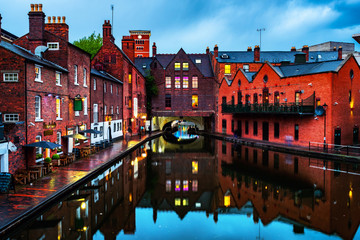 Embankments during the rain in the evening at famous Birmingham canal in UK