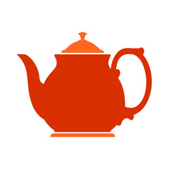 Red bright flat icon of teapot for your design.