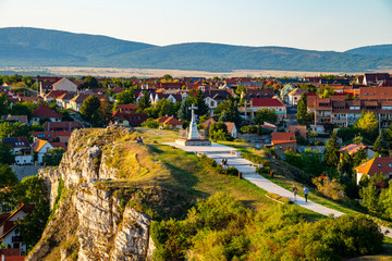 Aerial view of monument from Castle hill in the evening in Veszprem, Hungary